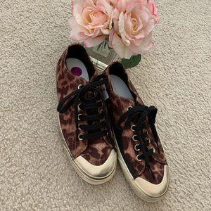 New Zara Man Leopard Faux Fur Sneakers 8.5